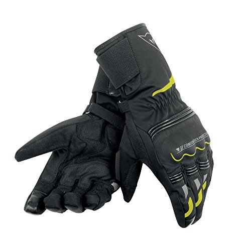 Dainese-TEMPEST UNISEX D-DRY LONG Guantes, Negro/Amarillo-Fluo, Talla XS