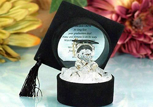 Adornos de cristal de graduación con diseño de oso de peluche, regalo de felicitación, mensaje de recuerdo único, caja de regalo con poema | Graduación para celebraciones de grado universitari