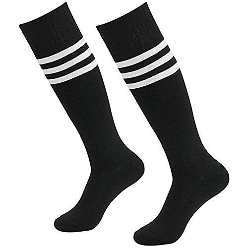 Da Wa - Chaussettes mi-bas pour femme - Longues chaussettes à rayures de sport et de football pour homme - Bas de danse pour fille, Noir
