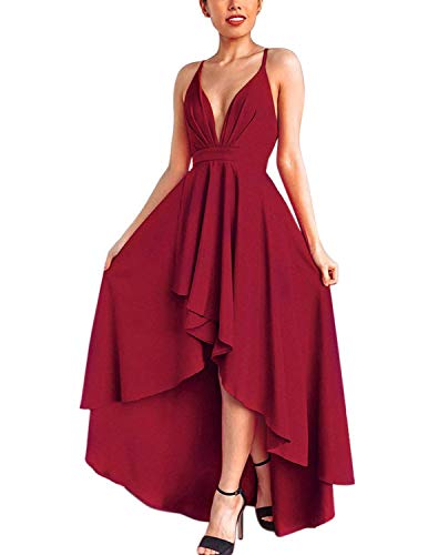 Abravo Mujer Vestidos Fiesta Sin Manga para Ceremonia Coctel Partido Largos Irregular Maxi Vestido Elegantes de Noche (XX-Large, Rojo)