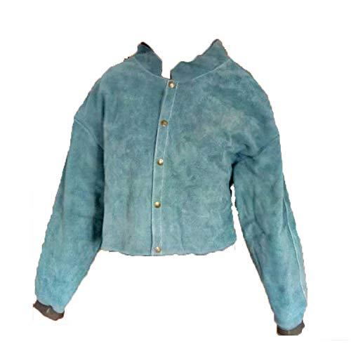 LAIABOR Flammhemmende Schweißerschürze Arbeitskleidung Schutzkleidung feuerfest Mantel Schutzkleidung Leder Rindsleder,Blue
