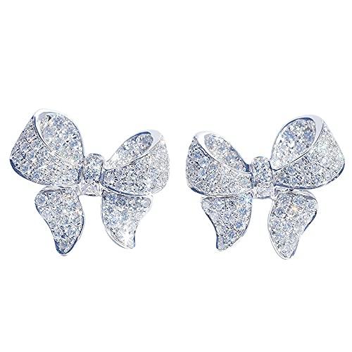 Pendientes de plata de moda con diseño de lazo para mujer, con incrustaciones de circonita, lazo, compromiso de boda (color de la gema: plata)