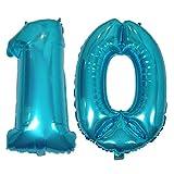 DIWULI, XL Zahlen-Ballons, Zahl 10, Ice Blue Luftballons, Zahlenluftballons, Folien-Luftballons Nummer Nr Jahre, Folien-Ballons blau für 10. Geburtstag, Hochzeit, Party, Dekoration, Geschenk-Deko
