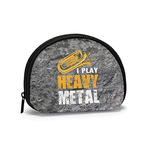 I Play Heavy Metal Tuba Music Oxford Cloth Coin Purse Change Cash Bag Zipper Small Purse Wallets Mini Storage Bag Shell-Shaped Wallet