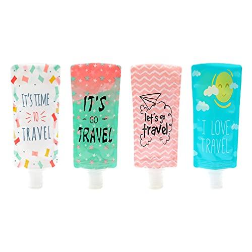 Minkissy 4 Unidades de 100Ml a Prueba de Fugas Envases Vacíos Recargables Bolsas de Viaje Exprimibles Tubos Frascos de Crema de Plástico Botella de Loción de Champú