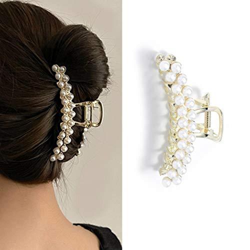 Runmi Pinzas para el pelo con perlas de metal dorado para el pelo de la garra de pelo grande accesorios para el cabello para mujeres y niñas