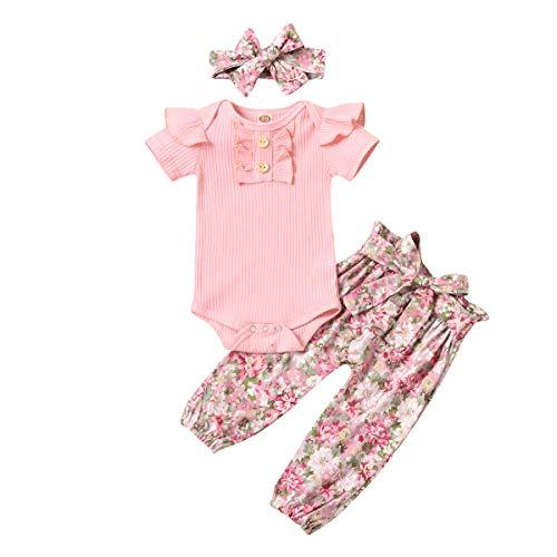 Body de manga larga para niña, body de punto, con flores, pantalones y cinta para la cabeza, conjunto de 3 piezas de ropa Manga corta. 0-6 Meses