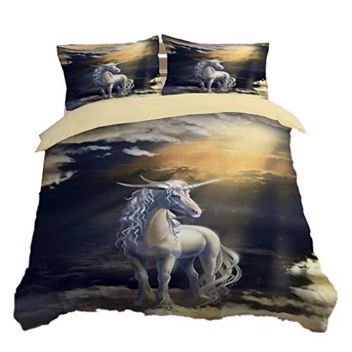 3D Unicornio Diseño Juego de cama Galaxia Estrellado Cielo Unicornio Azul Púrpura Microfibra Funda nórdica Infantil Chico Chica Adolescente Funda de edredón (Unicornio 3, 180x210 cm - Cama 105 cm)