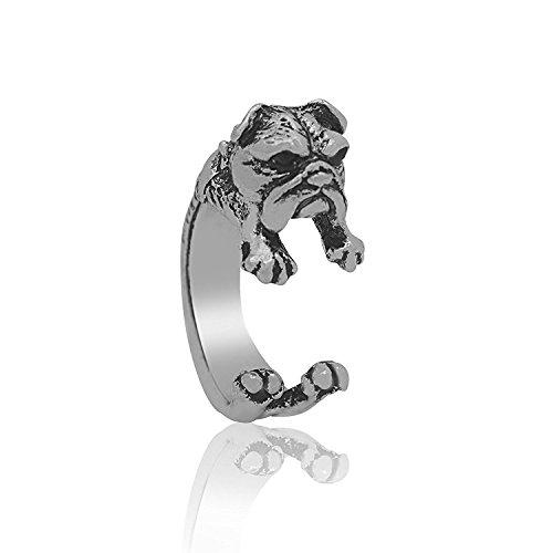 Serebra Jewelry Englische Bulldogge Ring mit Silber-, Bronze-, Schwarztönung Größenverstellbar Damen (Silber)