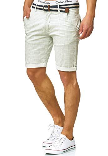 Indicode Herren Bourchier Chino Shorts mit Gürtel aus 98% Baumwolle   Kurze Karierte Hose Regular Fit Bermudas Sommerhose Herrenshorts Short Men Pants Chinohose kurz für Männer Surf Spray L