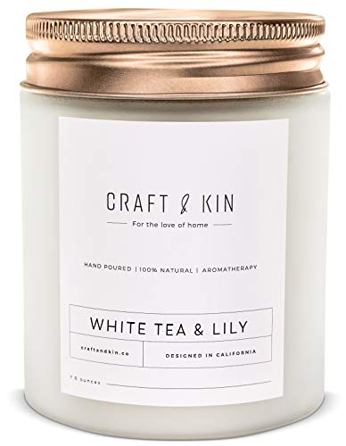 White Tea & Lily Scented Candle   Wood Wicked Candles   8oz 45 Hour Burn, All Natural Scented Candles, Soy Candles Scented, Soy Candle, Spring Candles, Relaxing Aromatherapy Candles in White Glass Jar