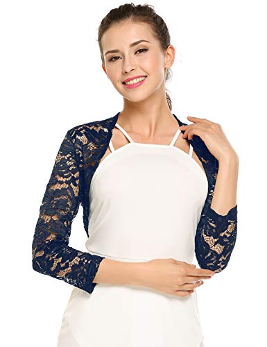Zeagoo Women's 3 4 Sleeve Bolero Shrugs Crochet Lace Open Cardigan Navy Blue