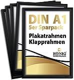 Trike®, 5 cornici per poster DIN A1, profilo in alluminio da 25 mm, colore nero, con vetro di protezione antiriflesso e materiale di fissaggio, telaio pieghevole in alluminio, 5 pezzi