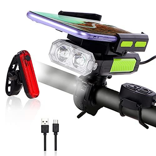 OSHINEW 5 in 1 LED Fahrradlicht Set, USB Aufladbar Fahrradlicht, mit Fernbedienung Frontlichter und Lautsprecher fahrradbeleuchtung IP65 Wasserdicht Können als Handyhalterung, Mobilstrom (4000 mAh)