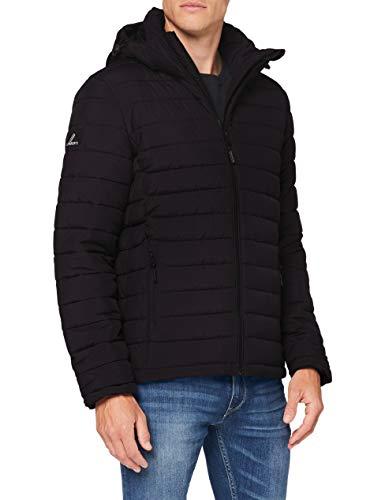 Superdry Mens Hooded Fuji Quilted Jacket, Black, Large