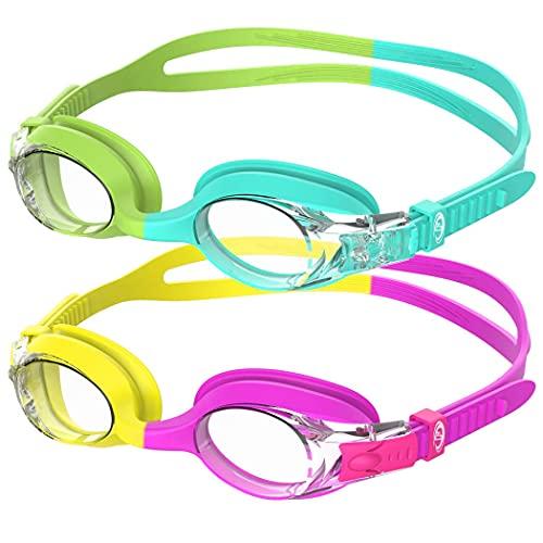 Mantimes Gafas de natación para niños, 2 unidades de gafas de natación para niñas y niños a prueba de fugas, lentes antiniebla, protección de silicona para niños de 3 a 14 años (2 camuflajes)