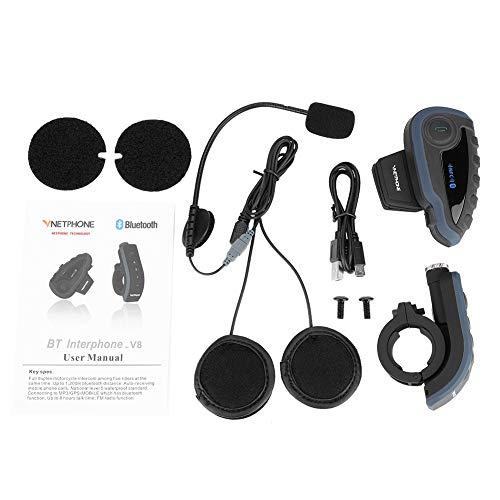 DSJSP Rider Intercomunicador Bluetooth Casco de Motociclista Bluetooth Intercomunicador con Auriculares con Control Remoto Kit de micrófono y Altavoz