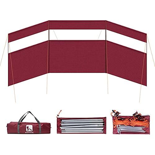 XIKUO LOKWAXYA - Parabrisas plegable de playa para exteriores, privacidad, 4 polos, para acampar, cortavientos, estufa, parabrisas, tela de protección contra el viento para acampar, protector solar,