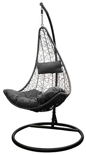 Trendyshop365 Polyrattan Hängesessel mit Gestell Hängestuhl für Garten & Lounge (anthrazit)