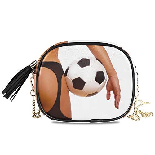 XiangHeFu Monedero Monedero de gran capacidad Titular de la tarjeta de moda Chica sexy con balón de fútbol Bolsa de teléfono de fútbol Cartera