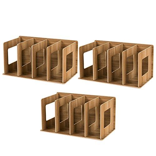 Anna Shop 3PCS 4Teile Holz DIY Desktop Comic Book CD Aufbewahrung Sortieren Buchstützen Büro tragen Regalen Organizer, Holz, Cherry Wood Color, 30.5*15*17cm