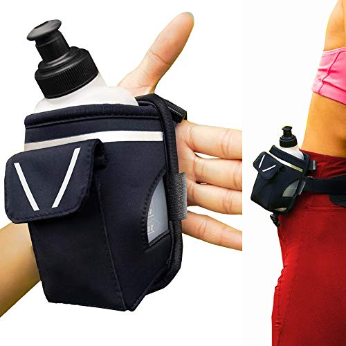 """""""2-in-1 Running Fun"""" - Handheld 12 Oz. Water Bottle & Running Belt Add-on - Straps onto Your Hand or Slides on Belt! Waterproof Pocket Holds Money, Key, ID – Maximises Your Time, Freedom and Health!"""