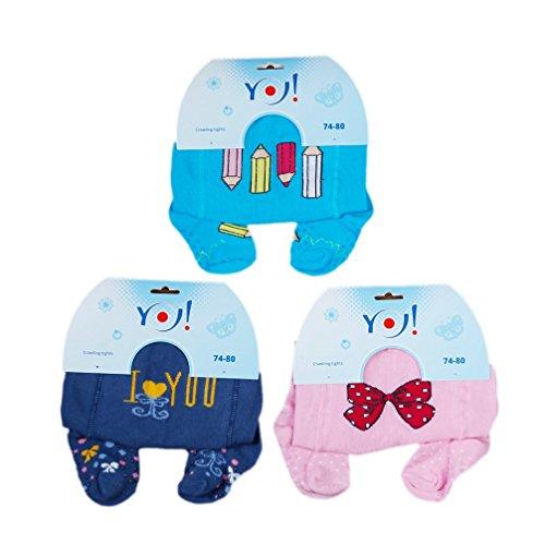 Babystrumpfhose Krabbelstrumpfhose RA-25 mit Noppen für Mädchen 3 er Set Blue & More Gr. 74-80