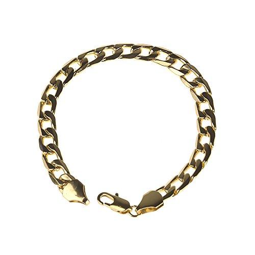 HuntGold 8mm Männer Modeschmuck Metall Eisen Gliederkette Karabinerverschluss Armband Armreif Gold