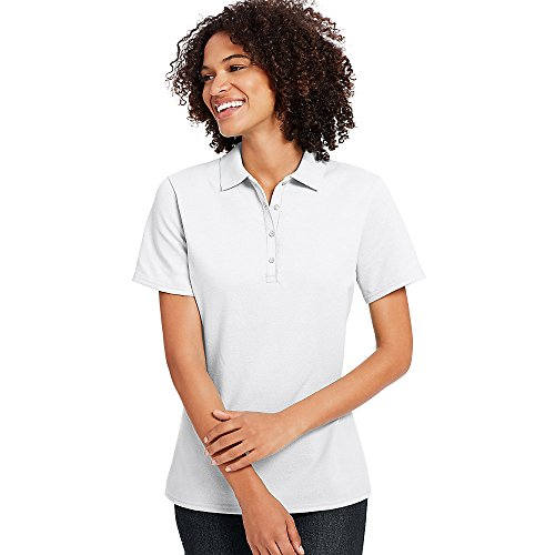 Hanes X-Temp Women's Pique Polo Shirt_White_2XL