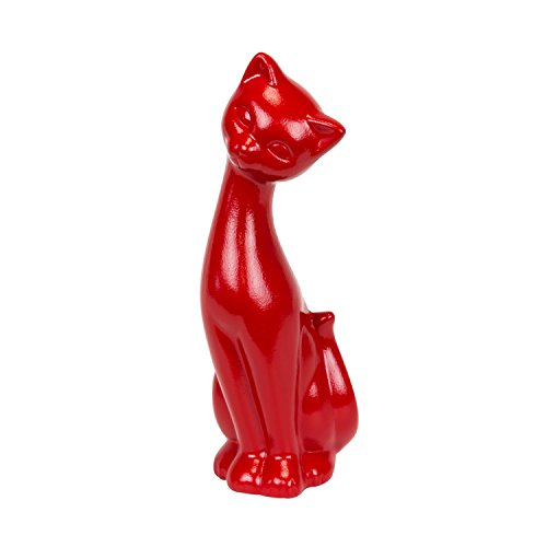 Figura cerámica de gato Lola, decoración 26.5cm de altura, rojo