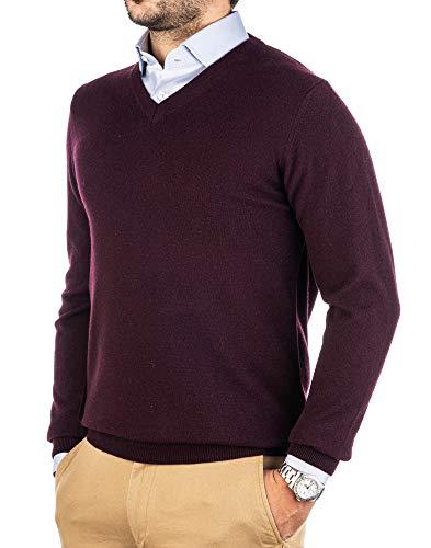 Cashmere Zone Jersey de hombre con cuello en V puro cachemir, 100% fabricado en Italia, de manga larga, con cuello redondo suave y suave vino tinto Medium