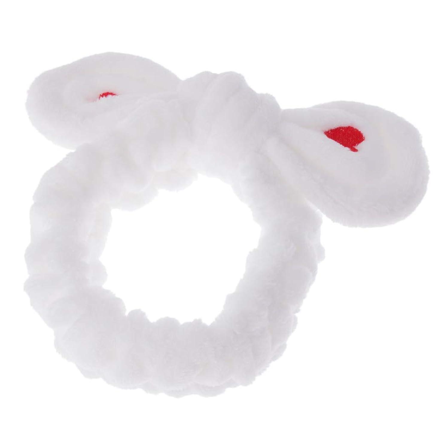 クラッシュスペル味方P Prettyia ヘアバンド かわいいウサギの耳 刺繍柄 ヘアスタイリング ヘア飾り 全4色 - ホワイト