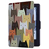 Huasiru Pintura Caso Funda para Amazon Kindle 8th generación (2016 lanzado) con Auto Despertar/Dormir [no Apto para Kindle Paperwhite], Gatos