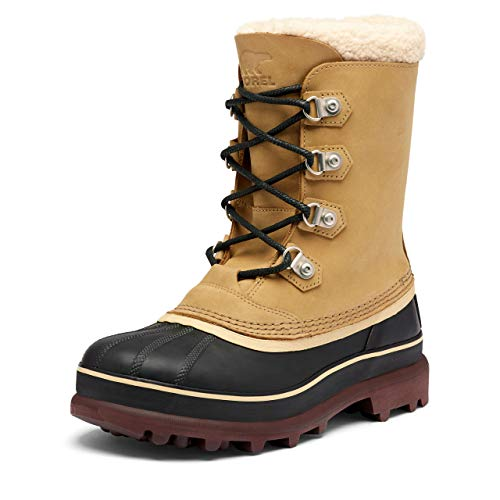 SOREL Men's Caribou Stack WP Boot — Buff — Waterproof Leather Winter Boot — Size 10.5