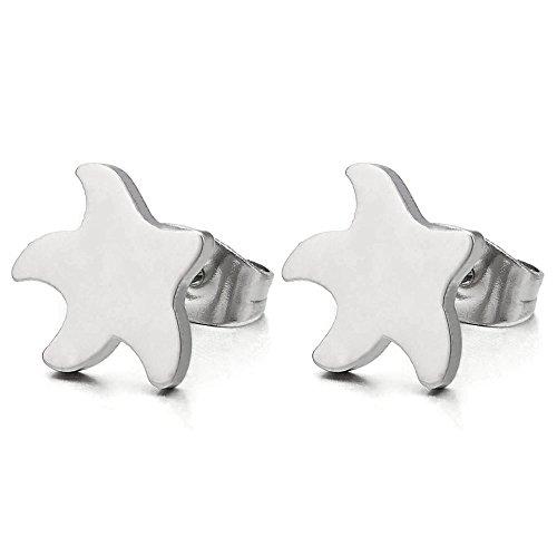 Estrella Estrella de Mar Pendientes de Mujer Niñas, Acero Inoxidable, 2 Piezas