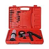 Ketofa Brake Bleeder Kit Handheld Vacuum Pump,Power Steering Vacuum Bleeder,One Man Brake Bleeder Kit Compatible with Automotive Tuner Tools Adapters Case,Red (23 Pcs)