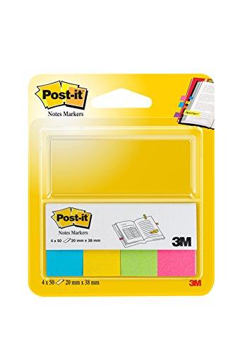Post-it 694260 Segnapagina in Carta con Supporto in Cartoncino, 20 x 38 mm, 4 Colori Ultra, Azzurro/Giallo/Verde/Fucsia, 200 Pezzi