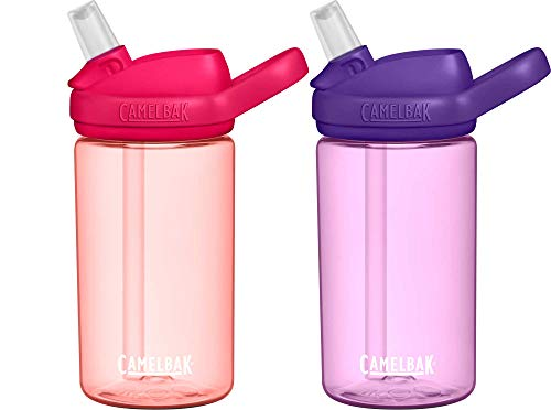 CamelBak Eddy Kids 14oz BPAFree Water Bottle with Straw 2Pack Grapefruit/Dusty Lavender Model Number: 2286901040