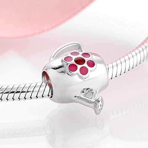 ZDJDMZ Hohlperlen Perlen 925 Sterling Silber Deep Pink Pflaumenblüte Gießkanne Feine Perlen Passen Original Charm Armband Schmuckherstellung