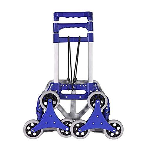 Shopping trolley XM ZfgG Carretilla De Mano Aleación De Aluminio Antideslizante Plegable Rueda Silenciosa 6 Rondas Sube Las Escaleras, Carga 45 Kg, Diámetro De Rueda 10 CM (Color: Azul)