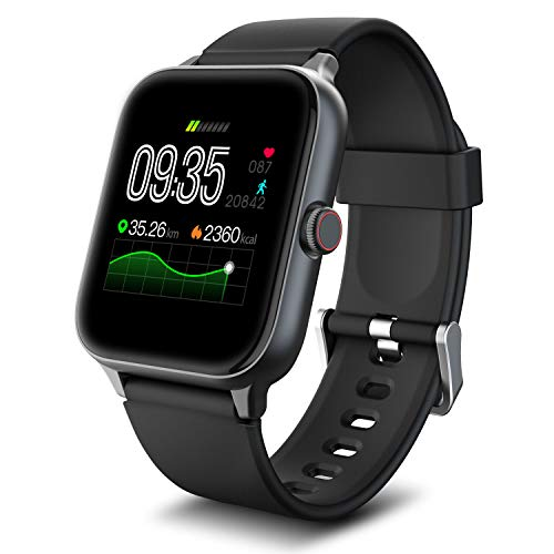 IOWODO R3Pro Smart Watches for Men Fitness Tracker Watch - Sport Watch 1.54 HD Screen Activity Tracker Step Counter for Walking Mens Sport Watch 5ATM Waterproof Smart Watch for Android Phones Black