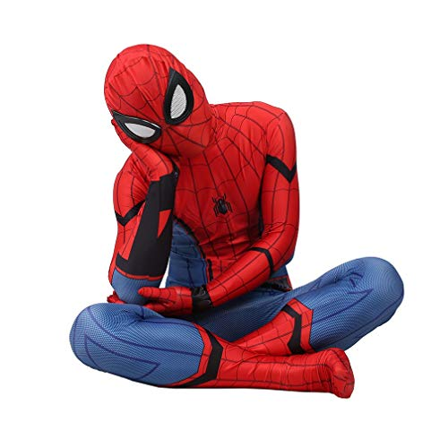 Trajes de superhéroes Spiderman unisex Adultos Disfraces de Halloween Cosplay del mono Niños elegante traje de partido del super héroe de los apoyos SPIDERMANHTT (Color : Red, Size : 135-145)
