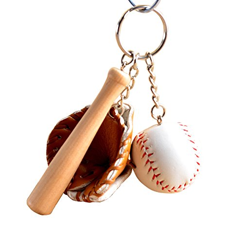 YSoutstripdu Modern Jewelry Mini-Baseballschläger-Handschuh-Set, Kunstleder, Holz, Schlüsselanhänger Gr. Einheitsgröße, braun