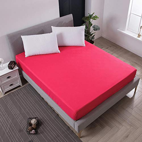 DSman Protector de colchón Transpirable.Rizo Bambú. Sábana cepillada Pure Color-Rose Red_90X200cmX25