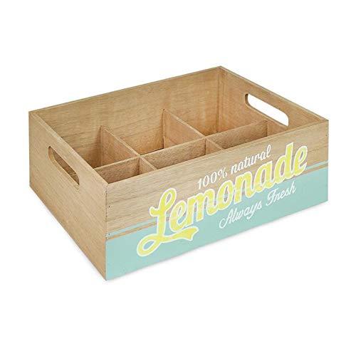 TDS - Glacette per biberon, in Legno, Stile Vintage, Motivo: Limonata 3D, 6 Bottiglie, 28,5 x 20 x 10 cm