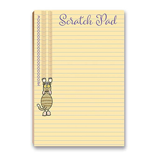 """Cat Scratch Pad Funny Notepad with Magnet - 8.5"""" x 5.5"""" - Funny Cat Notepad 50 Sheets - Made in USA - Grocery, Shopping, Daily Tasks List (Scratch Pad)"""