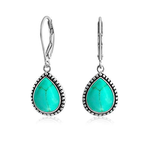 Boho Bali Style Blue Stabilized Turquoise Semi Precious Pear Shaped Teardrop Leverback Dangle Drop Earrings For Women Teen Oxidized 925 Sterling Silver
