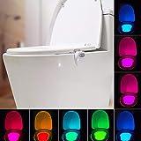 HUXULU Toilettenlicht USB Wiederaufladbare Led Toilette Licht Gebaut 8 Farben Wasserdicht Bewegungssensor Toilettenlampe