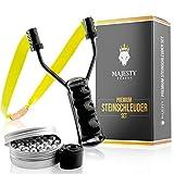 Majesty Forest® Premium Steinschleuder Set - Profi Schleuder Zwille für Sport und Outdoor - Slingshot Bundle mit 100 Stahlkugeln + Ersatzgummi und E-Book