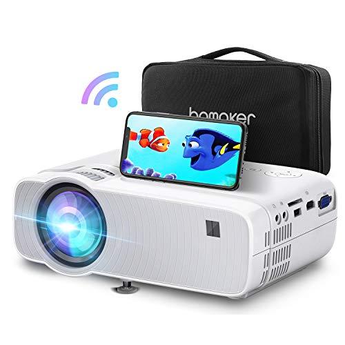 ABOX Proyector Portátil, Mini WiFi proyector, Inalábrico proyector, 5500 Lúmenes, Soporta 1080p Full HD, Sincronización de Pantalla para Android/iPhone, Apto para HDMI/VGA/AV/USB/SD GC357